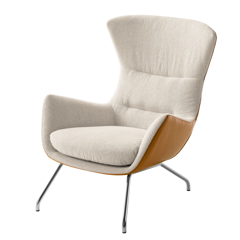 Sessel Hepburn II - Webstoff / Echtleder - Chrom - Beige / Cognac