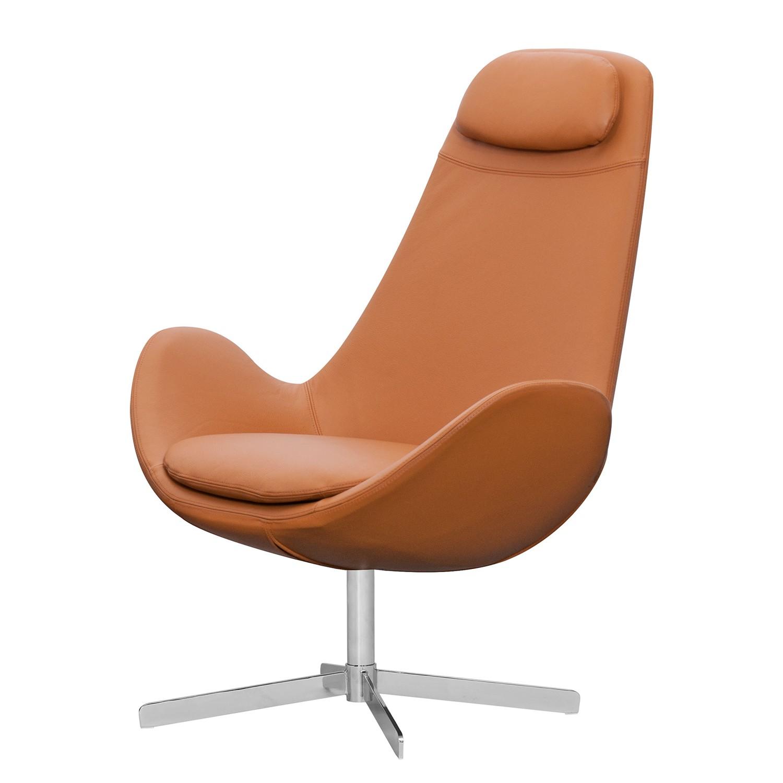 Sessel Houston I - Echtleder - Chrom - Echtleder Neka Cognac, Studio Copenhagen
