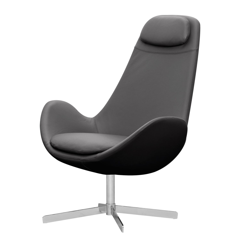 Sessel Houston I - Echtleder - Chrom - Echtleder Neka Grau, Studio Copenhagen