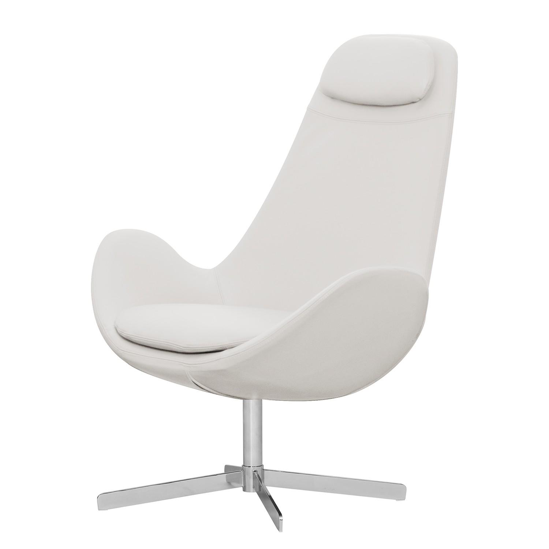 Sessel Houston I - Echtleder - Chrom - Echtleder Neka Weiß