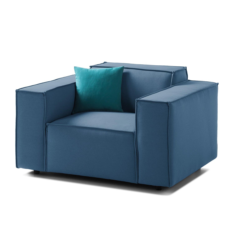 Home 24 - Fauteuil kinx - tissu - tissu osta bleu foncé, kinx