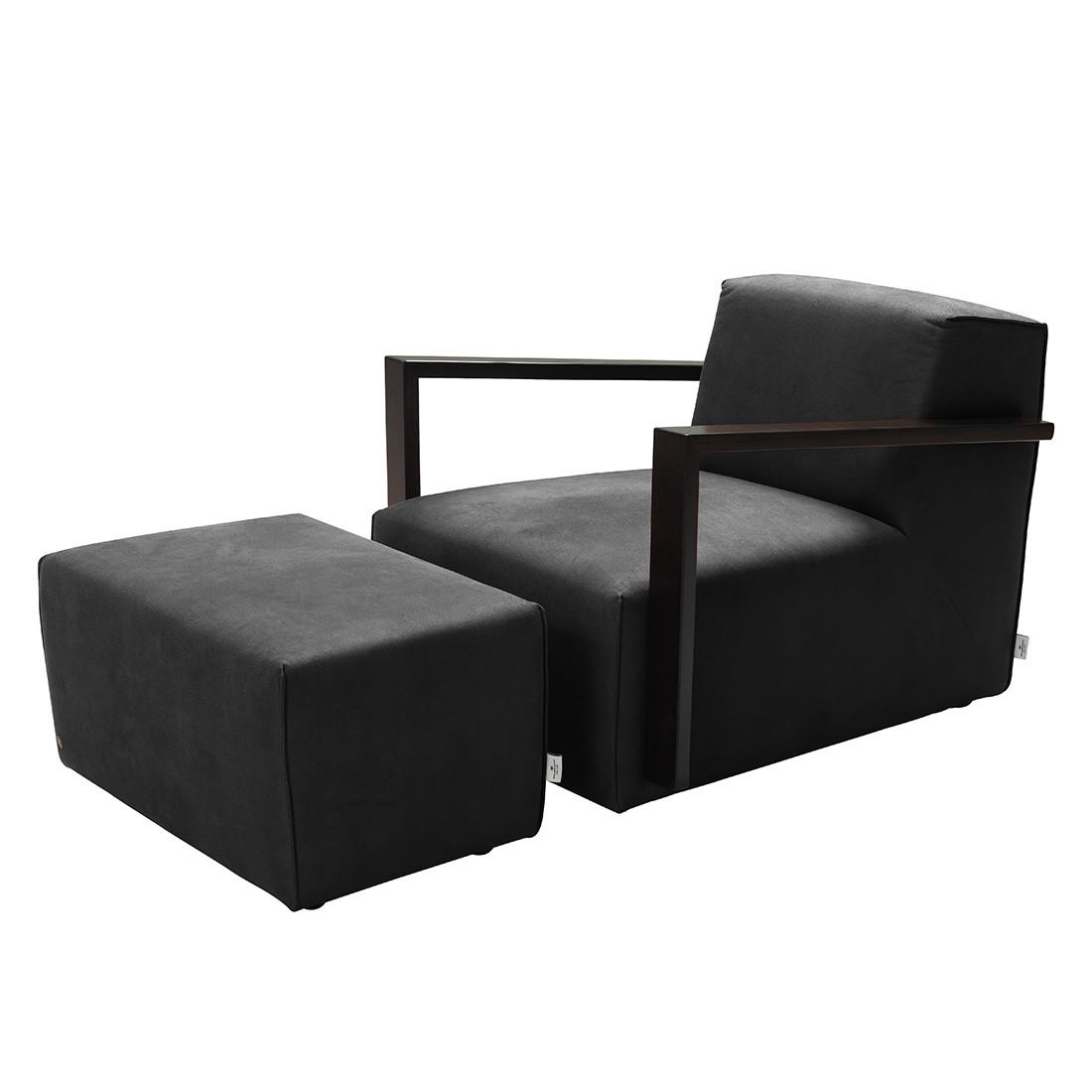 Home 24 - Fauteuil lazy - imitation cuir aspect vieilli - avec repose-pieds - noir, tom tailor