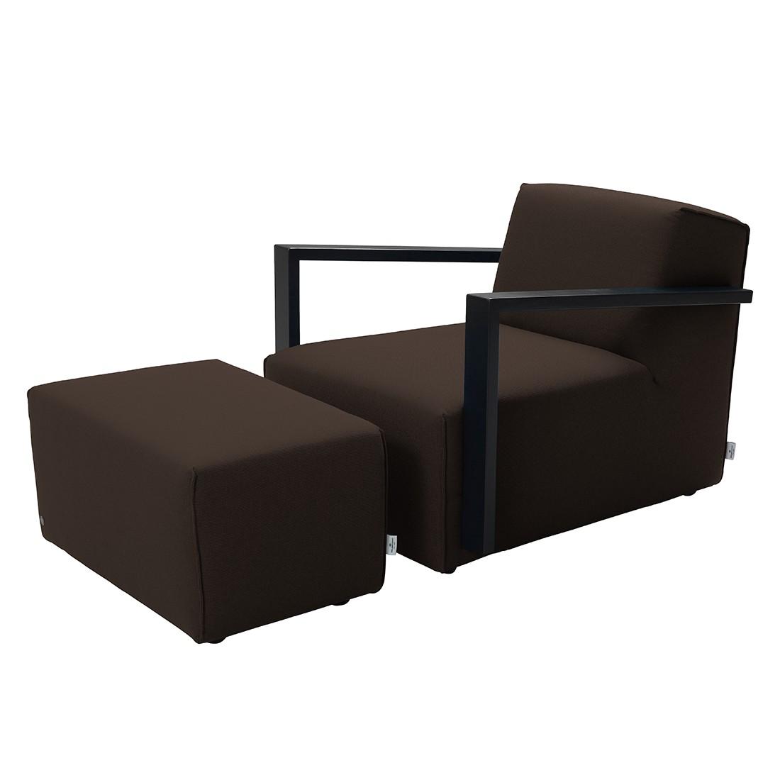 Home 24 - Fauteuil lazy - tissu structuré - avec repose-pieds - marron, tom tailor
