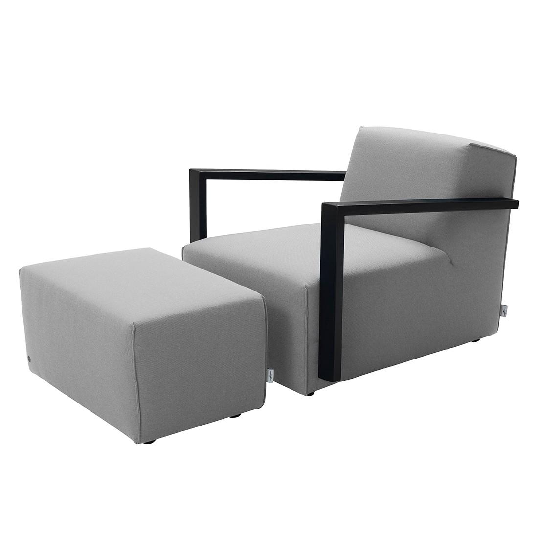 Fauteuil Lazy - Tissu structuré - Avec repose-pieds - Gris clair, Tom Tailor