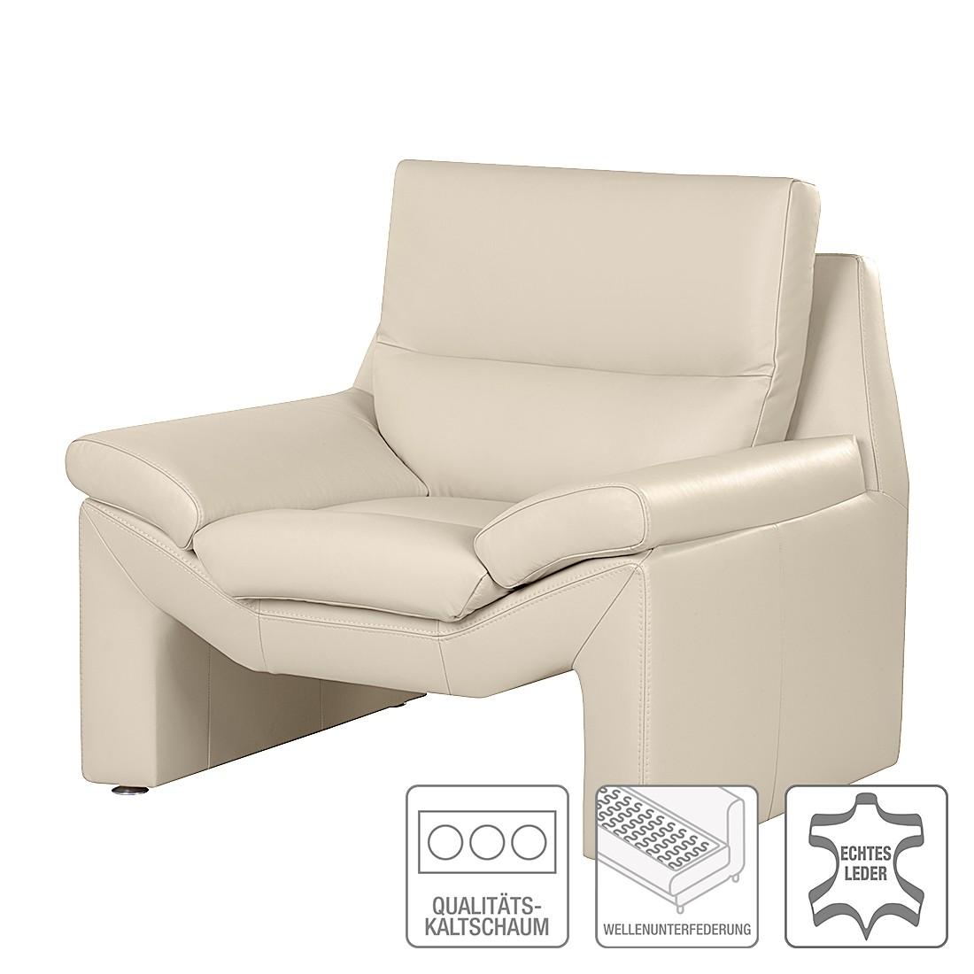 Home 24 - Fauteuil longford - cuir véritable beige, nuovoform