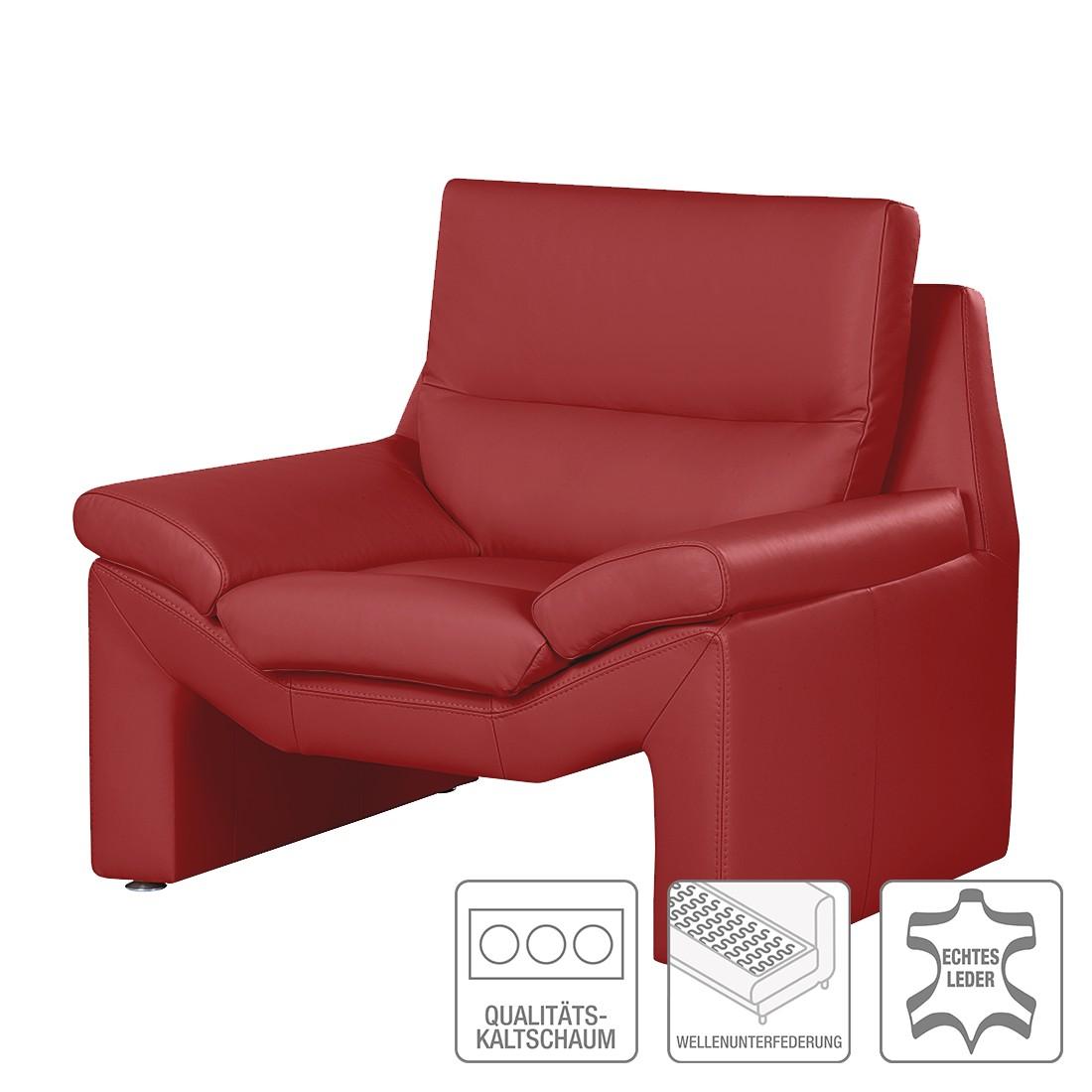 Home 24 - Fauteuil longford - cuir véritable rouge, nuovoform