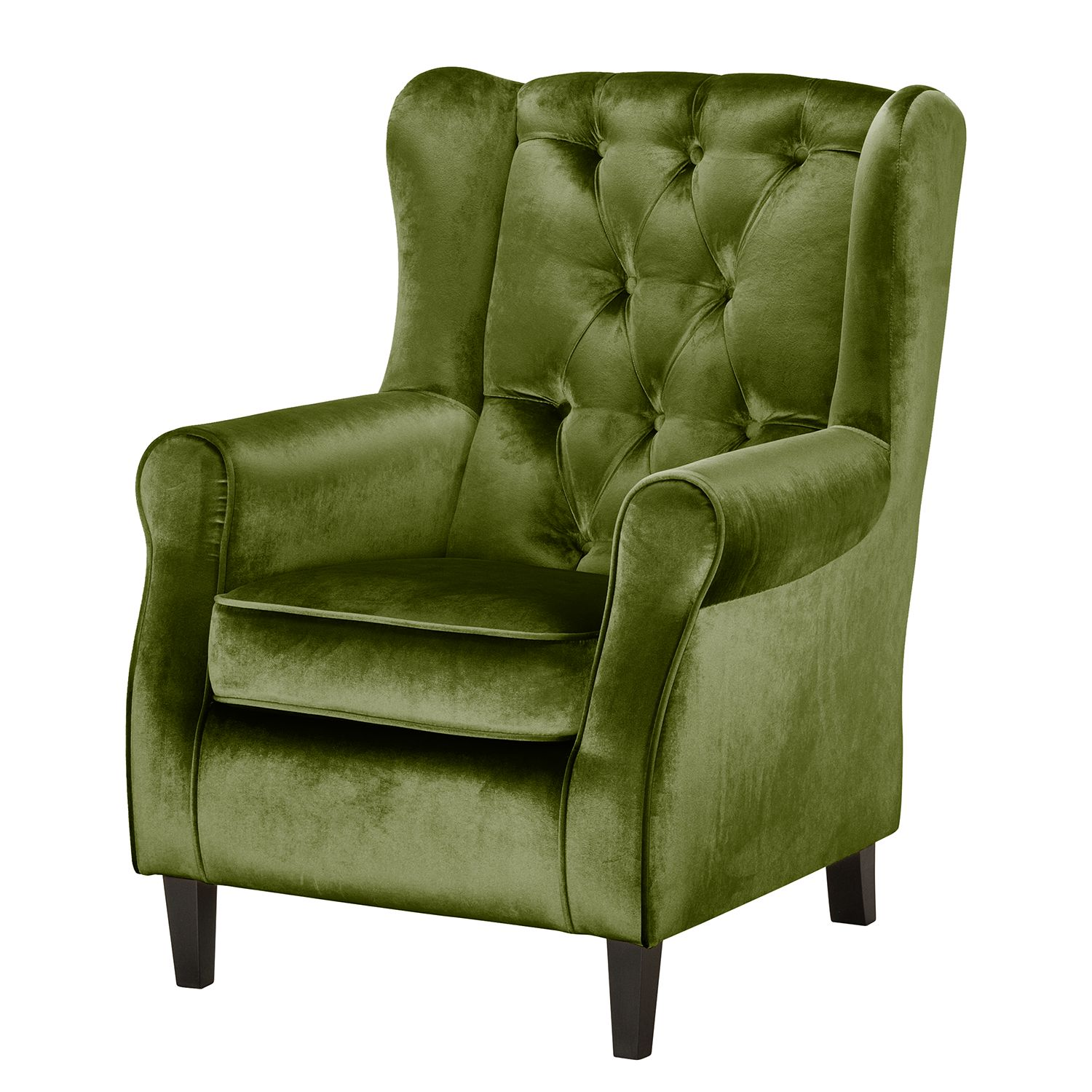 fauteuil oreilles luro velours vert olive jack and alice previtech. Black Bedroom Furniture Sets. Home Design Ideas