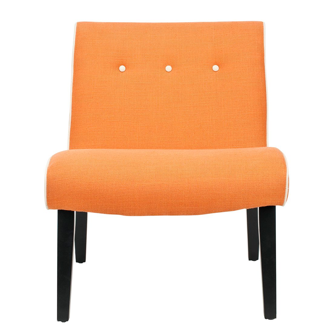 Sessel Mandell - Birke massiv / Webstoff - Orange, Safavieh