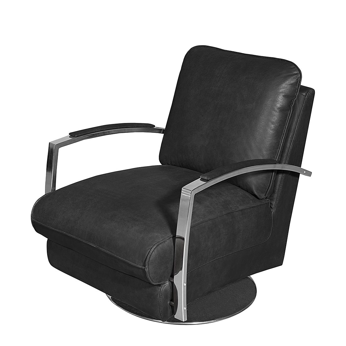Fauteuil Marques II - Cuir véritable - Noir, Red Living