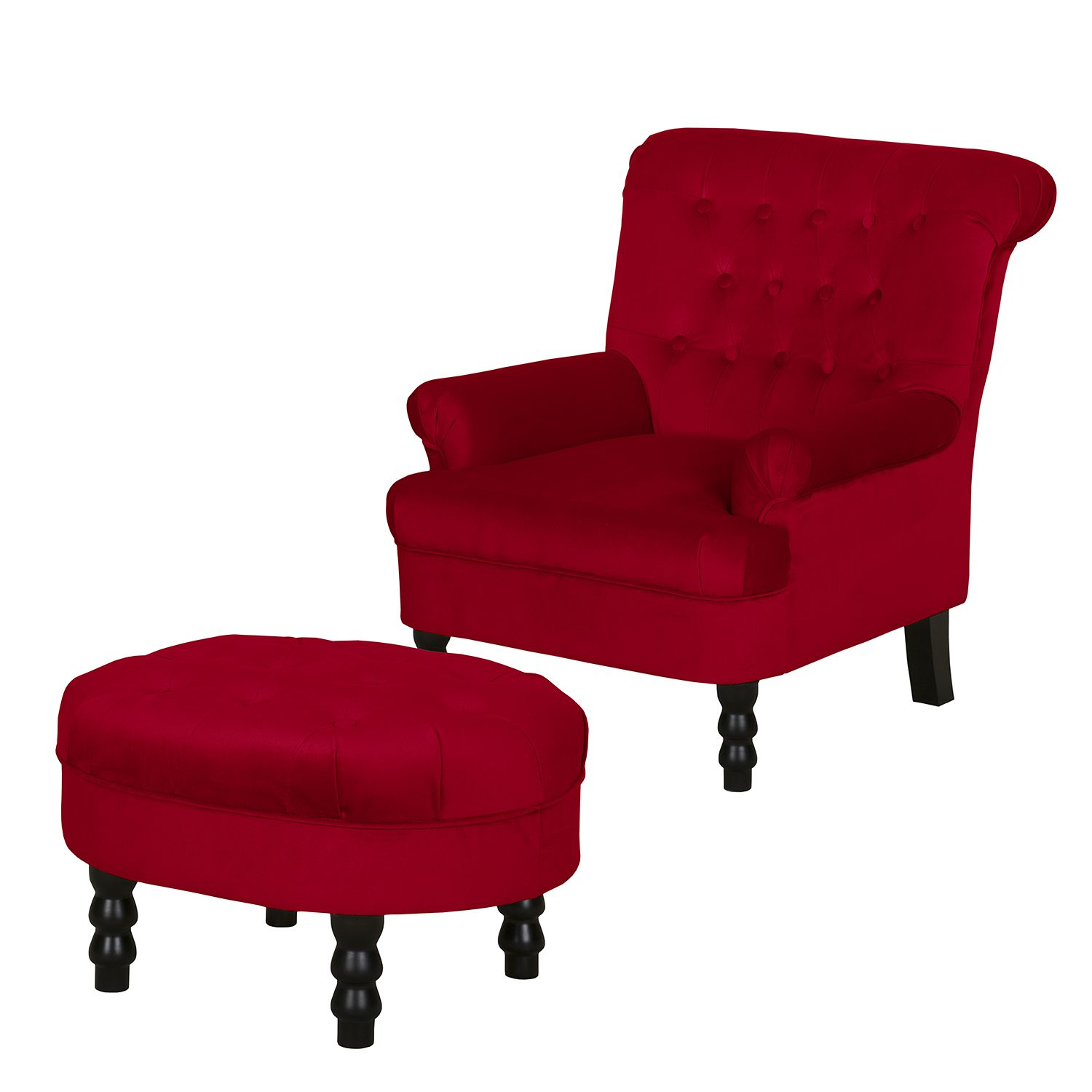Fauteuil New Mill - Microfibre - Avec repose-pieds - Rouge rubis, Jack and Alice