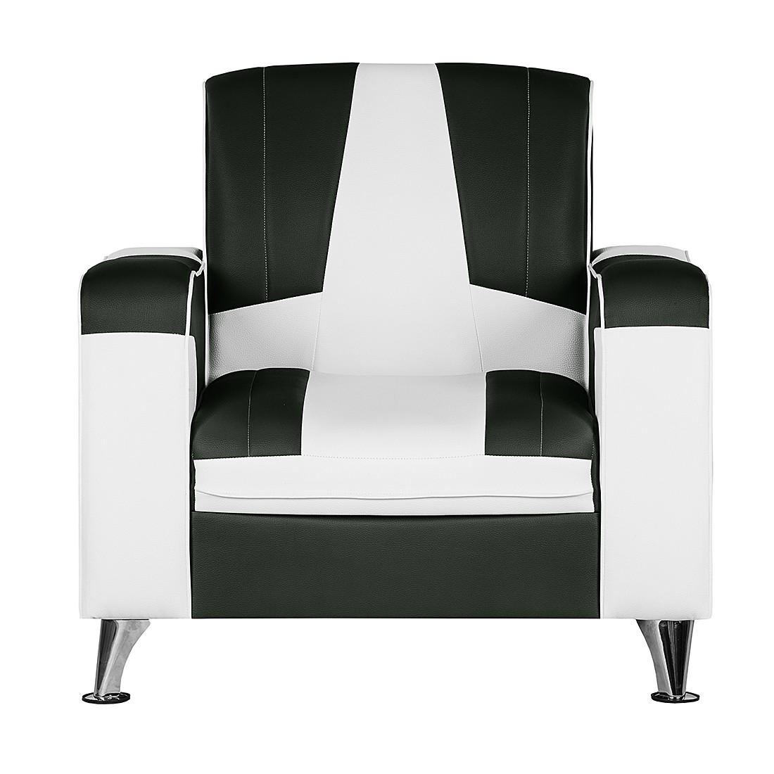 Home 24 - Fauteuil nixa - cuir synthétique - blanc / noir, studio monroe