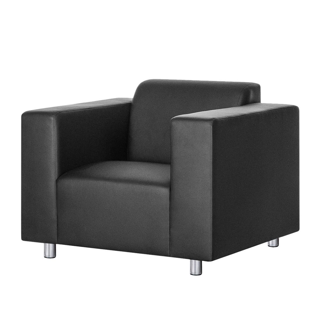 Fauteuil Oslo - Imitation cuir Noir, roomscape