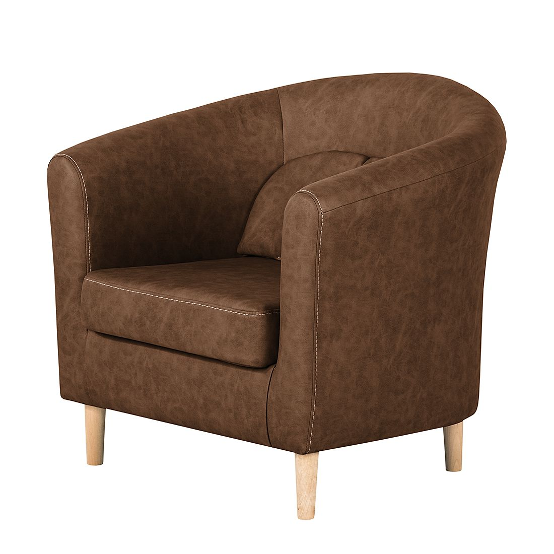 Fauteuil Phillip - Cuir synthétique - Marron chocolat, mooved