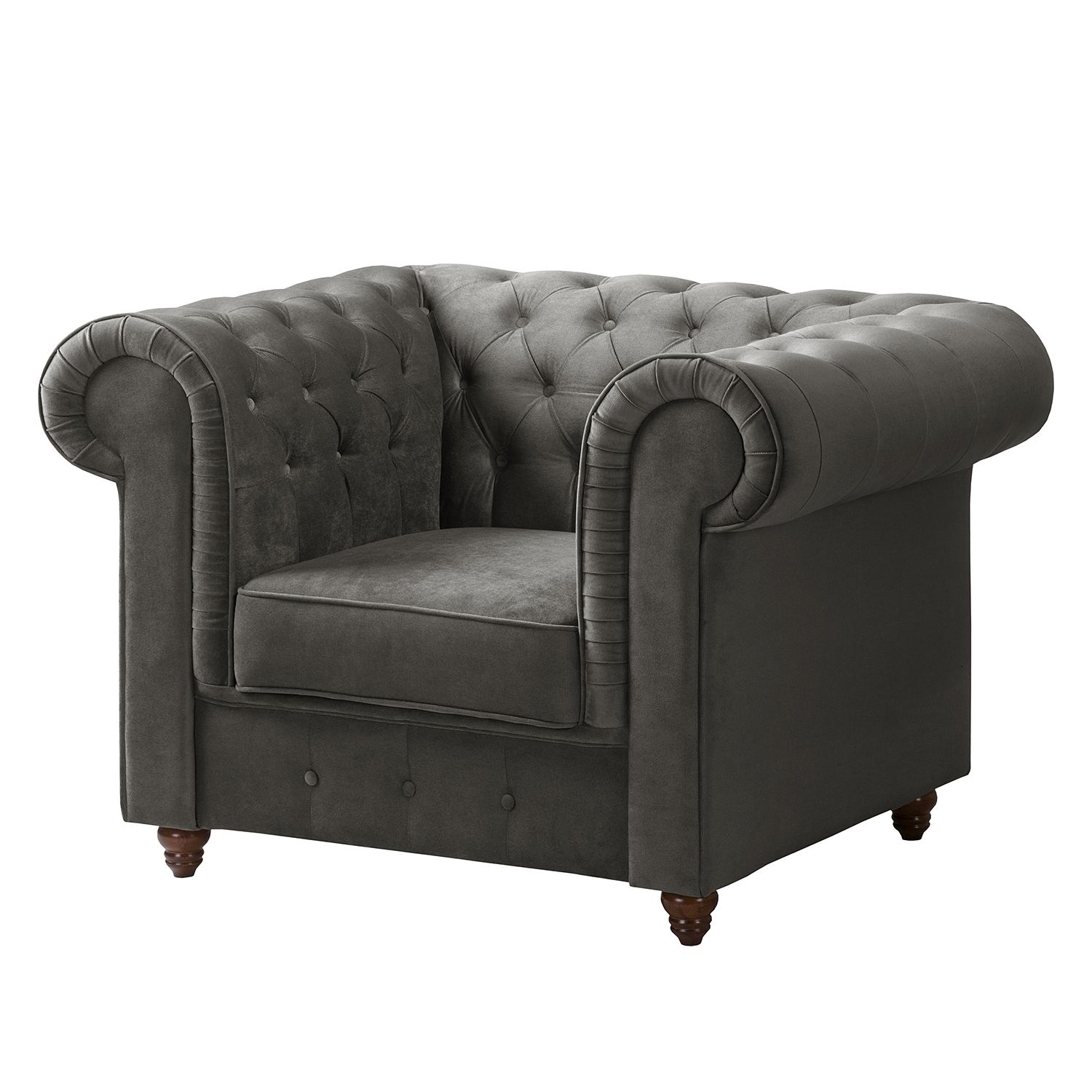 Fauteuil Chesterfield Pintano - Velours - Gris, ars manufacti