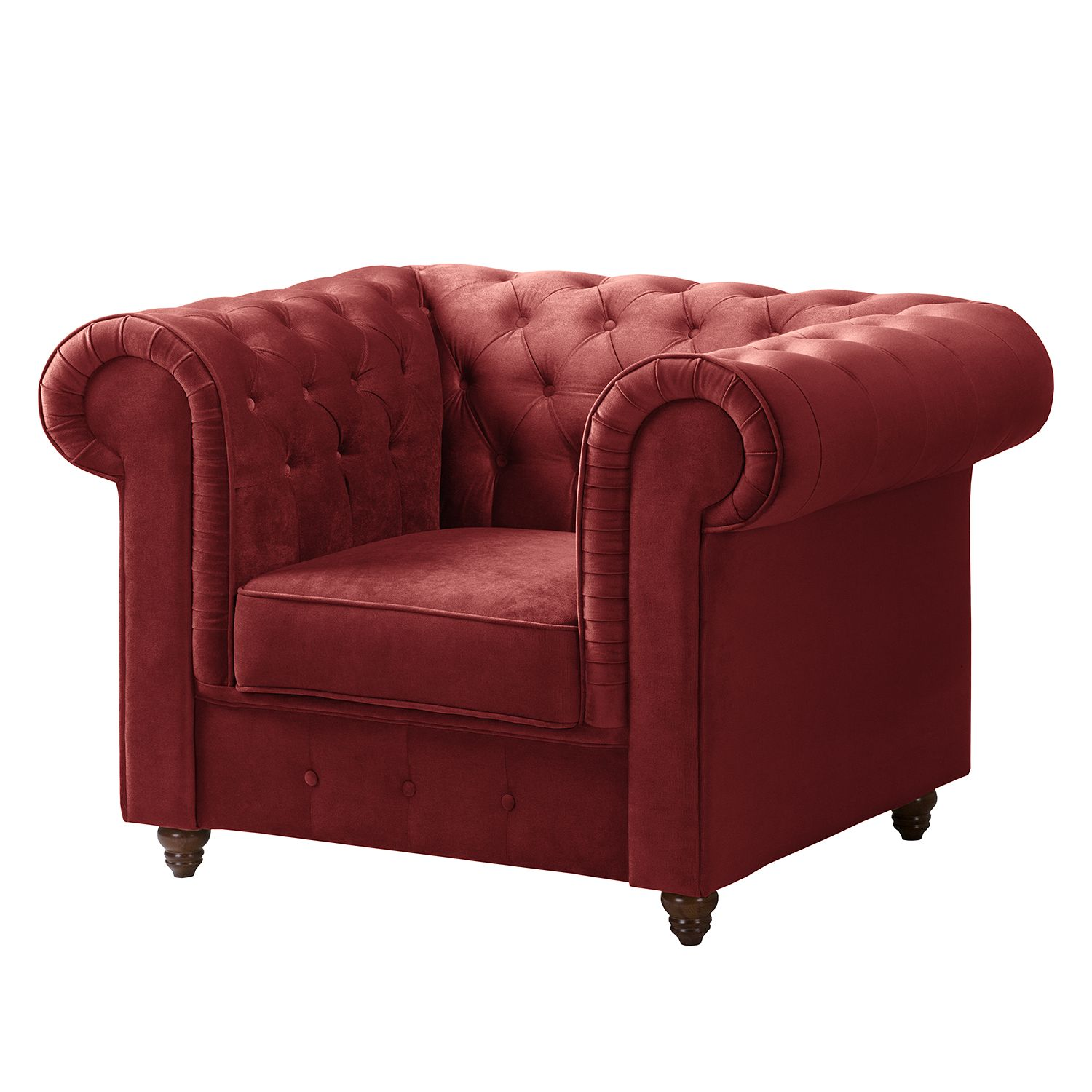 Chesterfield-fauteuil Pintano - fluweel - Rood, ars manufacti