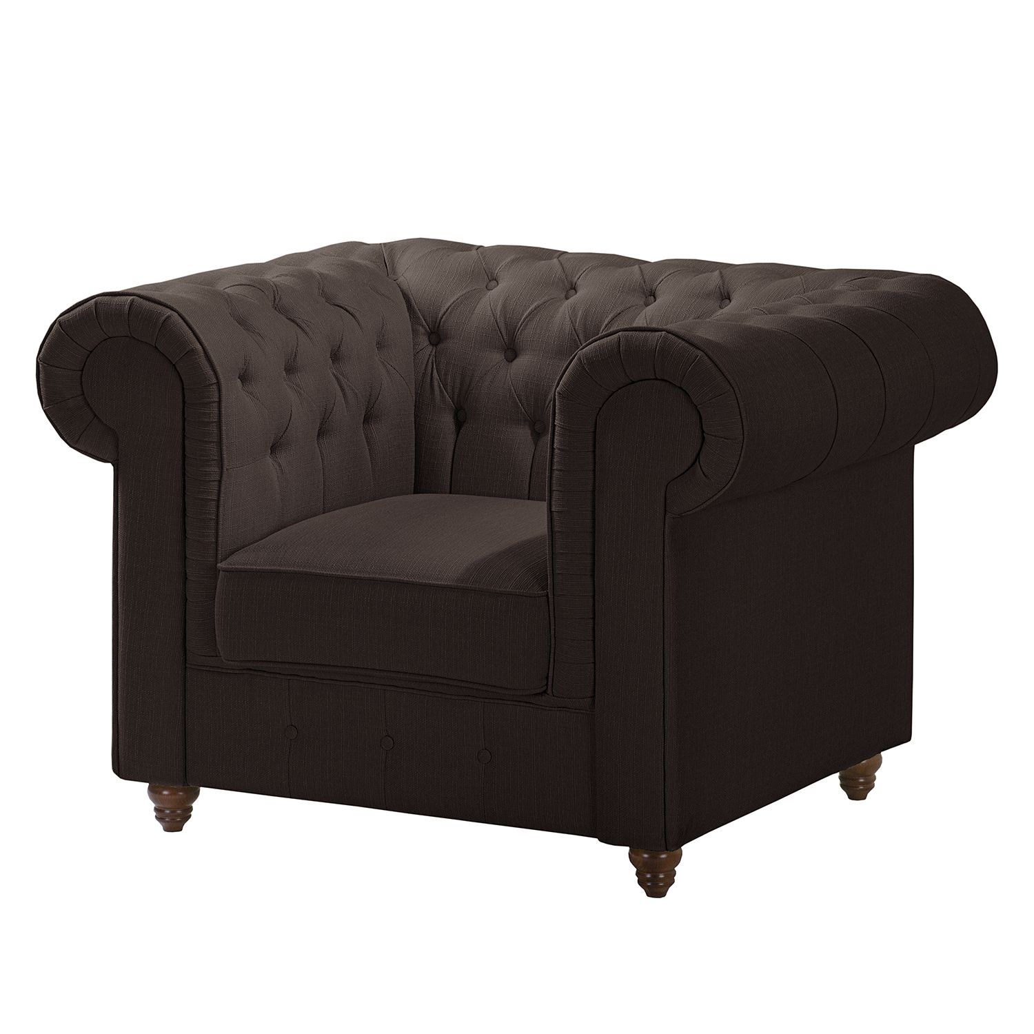 Fauteuil Chesterfield Pintano - Tissu - Expresso, ars manufacti