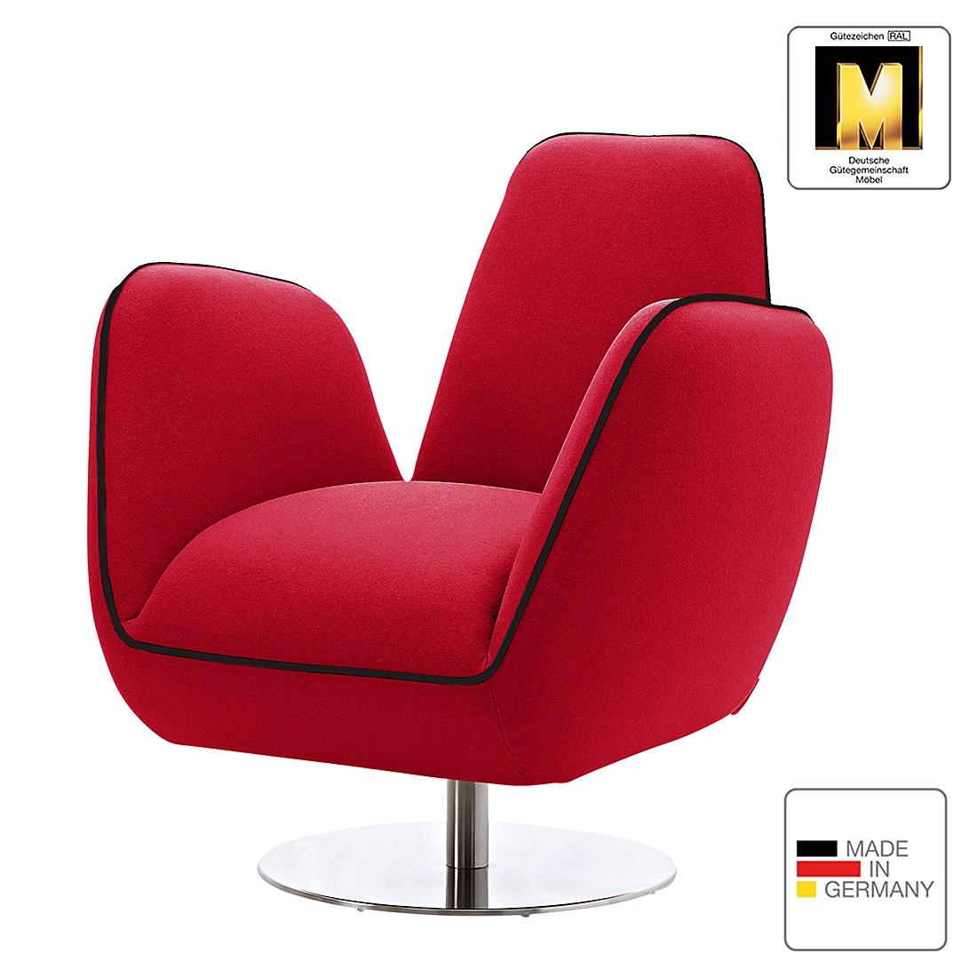 Home 24 - Fauteuil pinto i - tissu - rouge / noir, machalke polsterwerkstätten