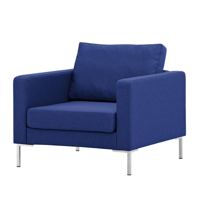 Sessel Portobello - Webstoff - Eckiger Fuß - Stoff Ramira Blau