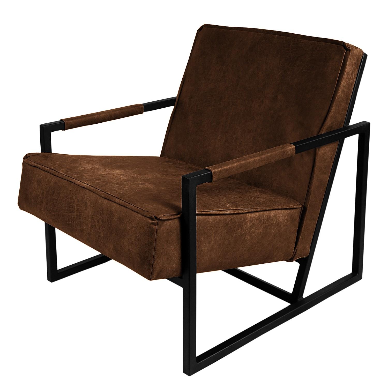 fauteuil rhode aspect cuir vieilli marron neutre ars. Black Bedroom Furniture Sets. Home Design Ideas