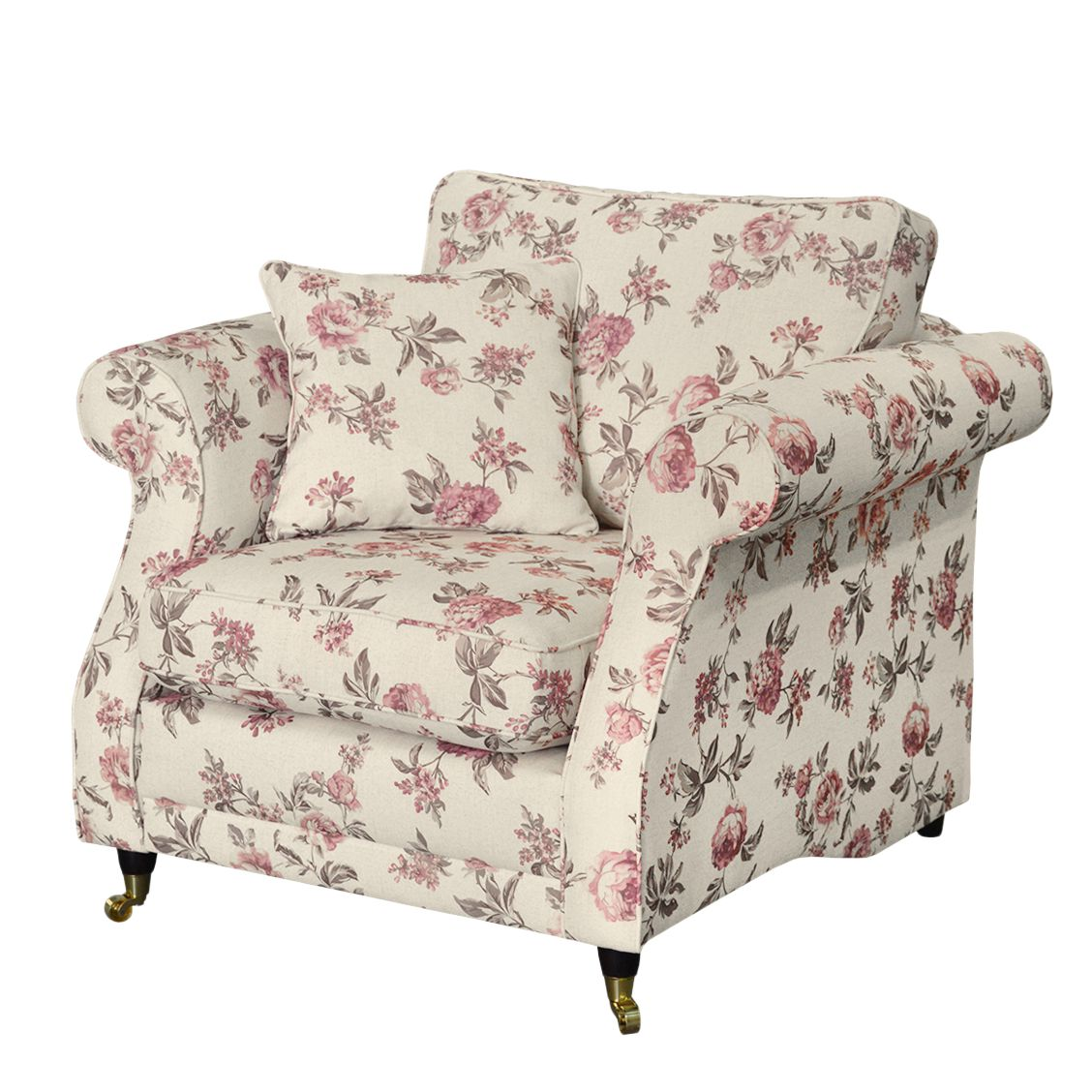 Fauteuil Rosehearty - Tissu - Crème / Rose, Jack and Alice