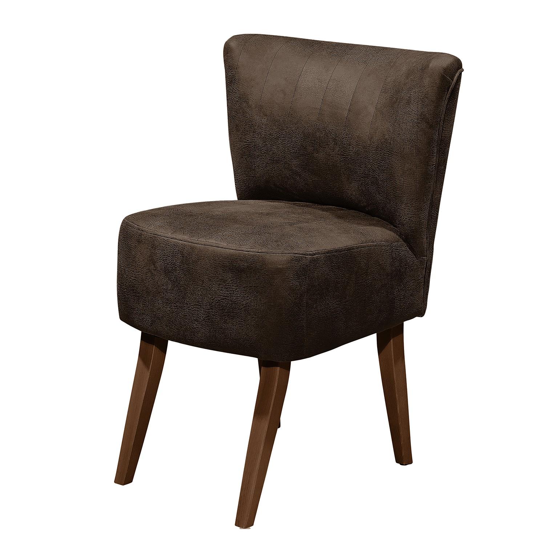 Fauteuil rotnes imitation cuir vieilli h tre fonc expresso mooved meubles - Fauteuil imitation cuir vieilli ...