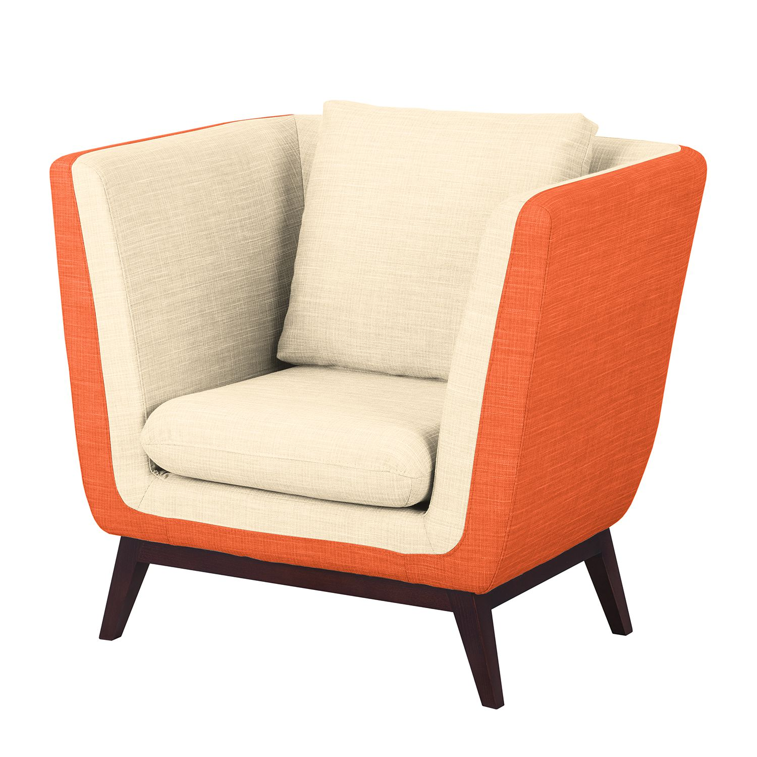 Sessel Sagone - Webstoff - Orange / Cremeweiß, Morteens