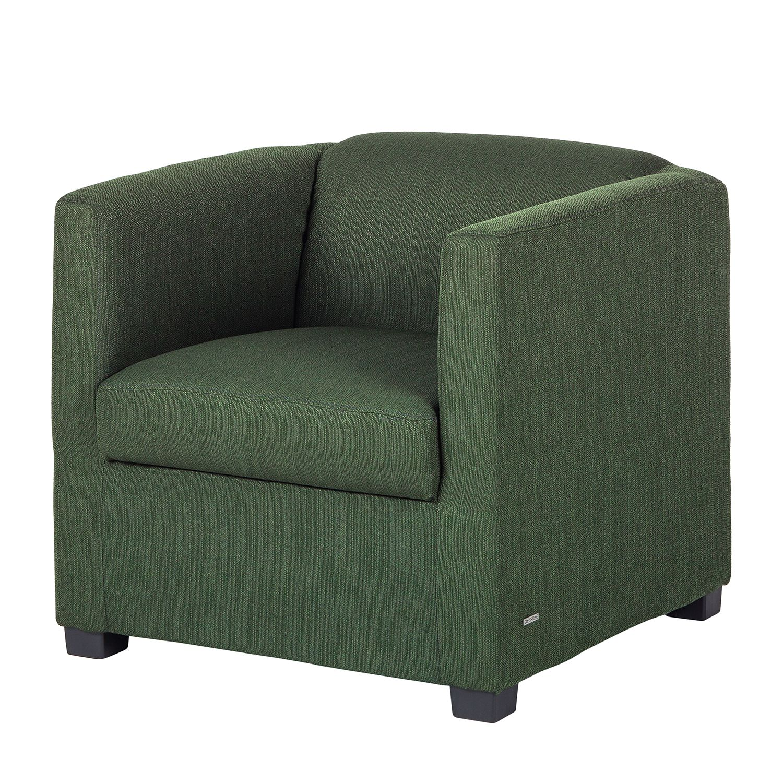 Fauteuil Savja - Tissu - Boxspring - Vert, Home Design