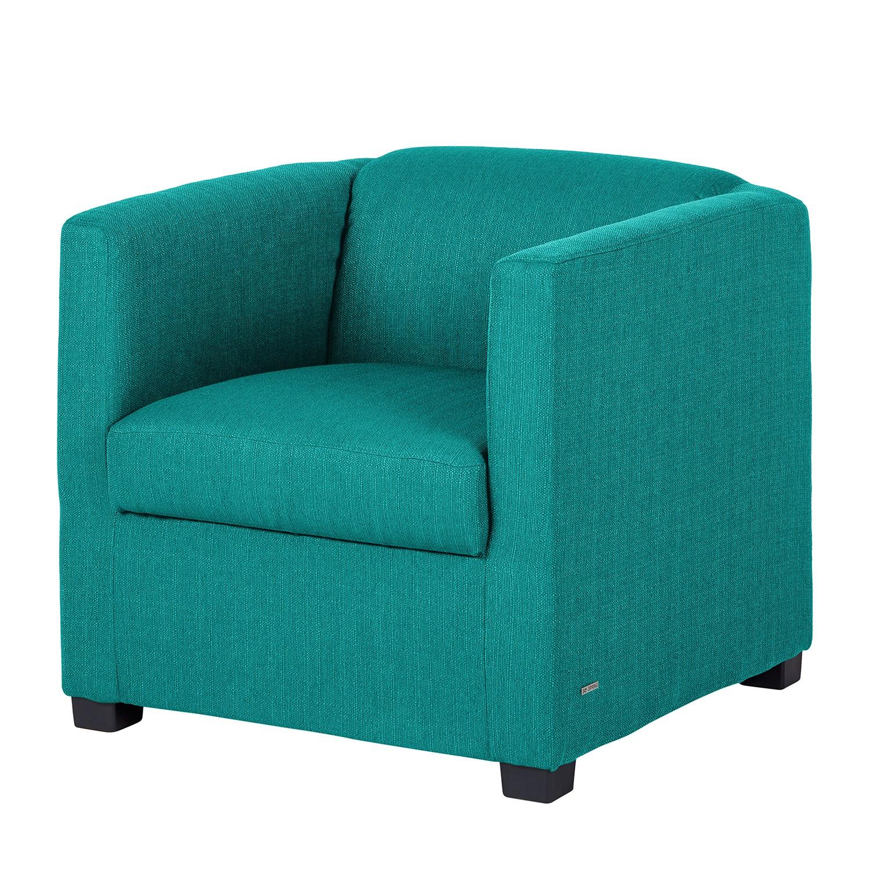 Fauteuil Savja - Tissu - Boxspring - Pétrole, Home Design