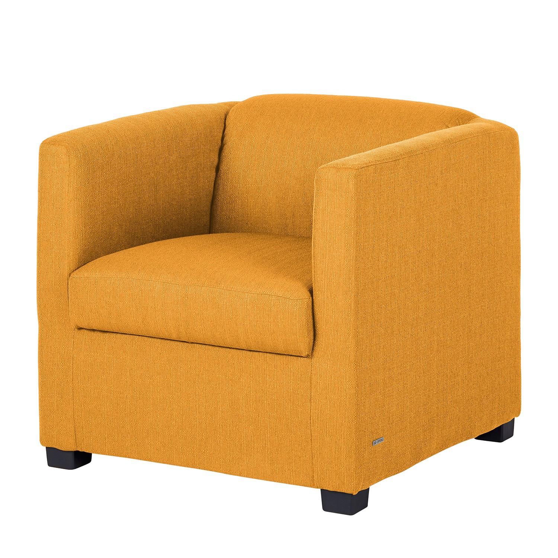 Fauteuil Savja - Tissu - Boxspring - Jaune moutarde, Home Design