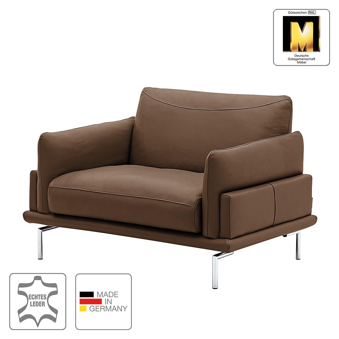 Home 24 - Fauteuil seattle - cuir véritable - marron foncé, machalke polsterwerkstätten