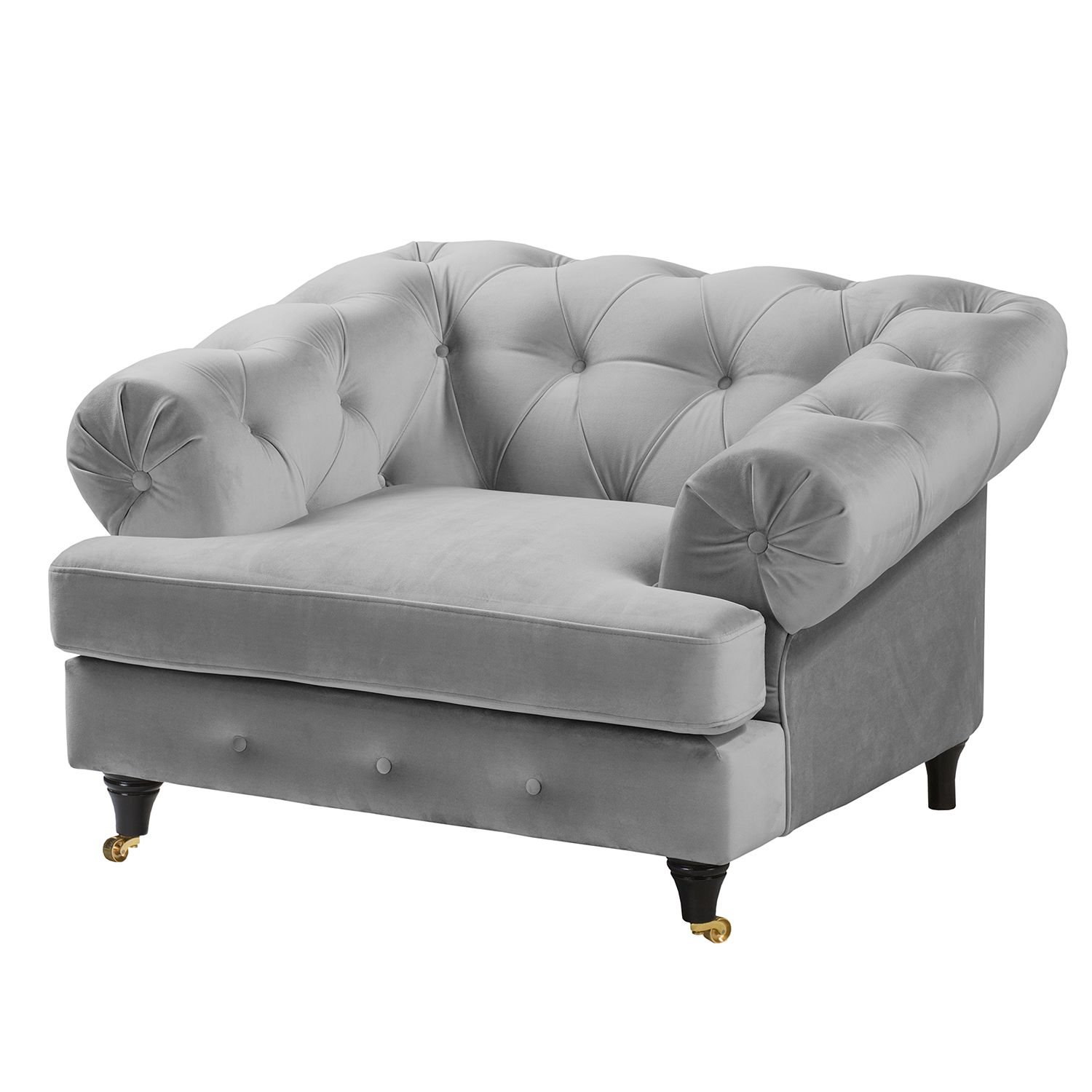 Fauteuil Thory - Velours - Gris clair, Jack and Alice
