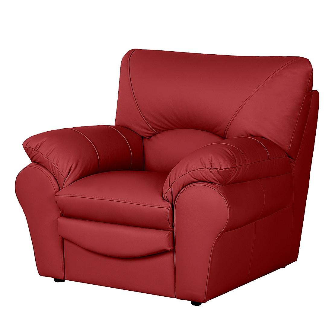 Fauteuil Torsby - Cuir véritable rouge, Nuovoform
