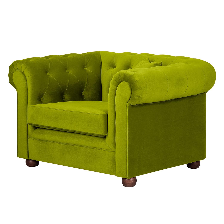 Fauteuil Upperclass - fluweel met kussen groen, furnlab