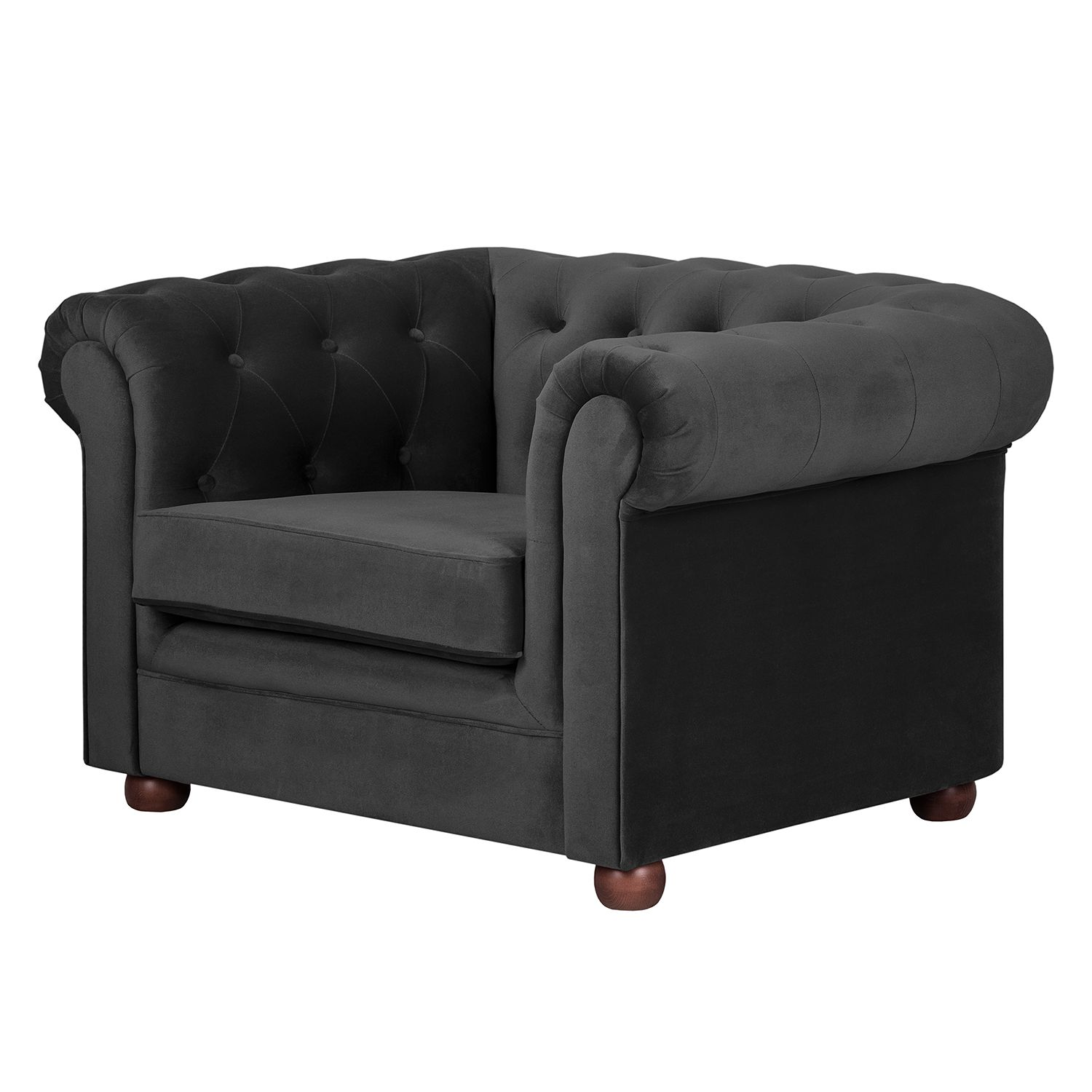 Fauteuil Upperclass - Velours - Noir, Jack and Alice