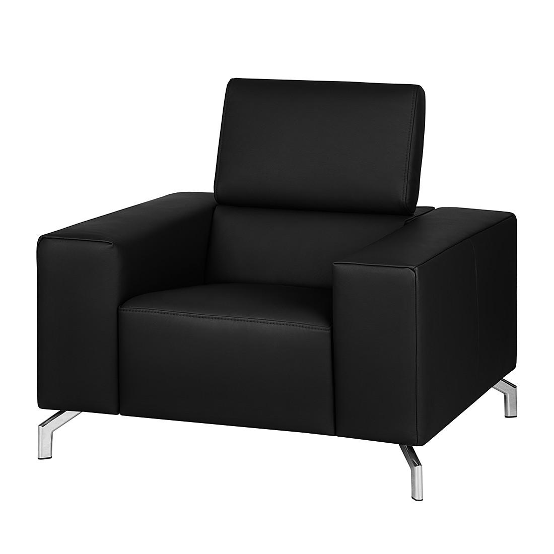 Fauteuil Varberg XXL - Cuir véritable noir, loftscape