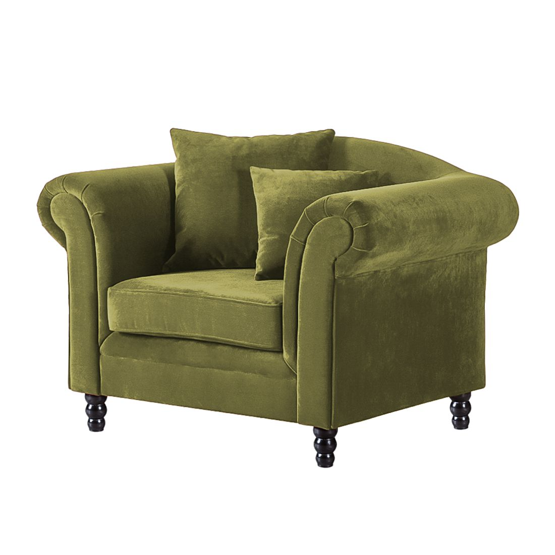 Fauteuil York - Velours vert olive, Jack and Alice