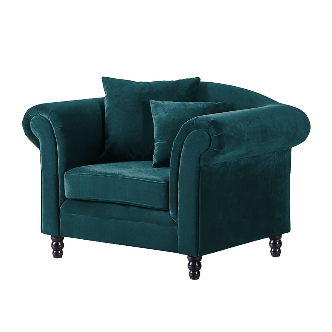 Home 24 - Fauteuil york - velours pétrole, jack and alice