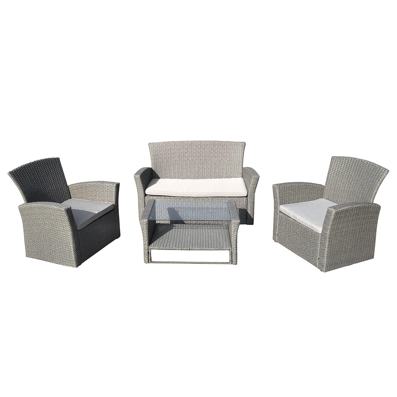 Sitzgruppe Kapolei (4-teilig) - Webstoff / Polyrattan - Hellgrau  bei Home24 - Gartenmöbel