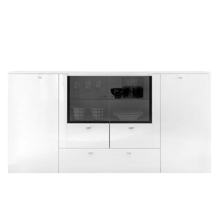 Sideboard Arminto - Hochglanz Weiß / Weiß, roomscape