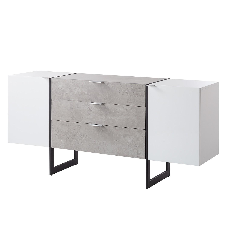Sideboard Kempton - Hochglanz Weiß / Beton Dekor