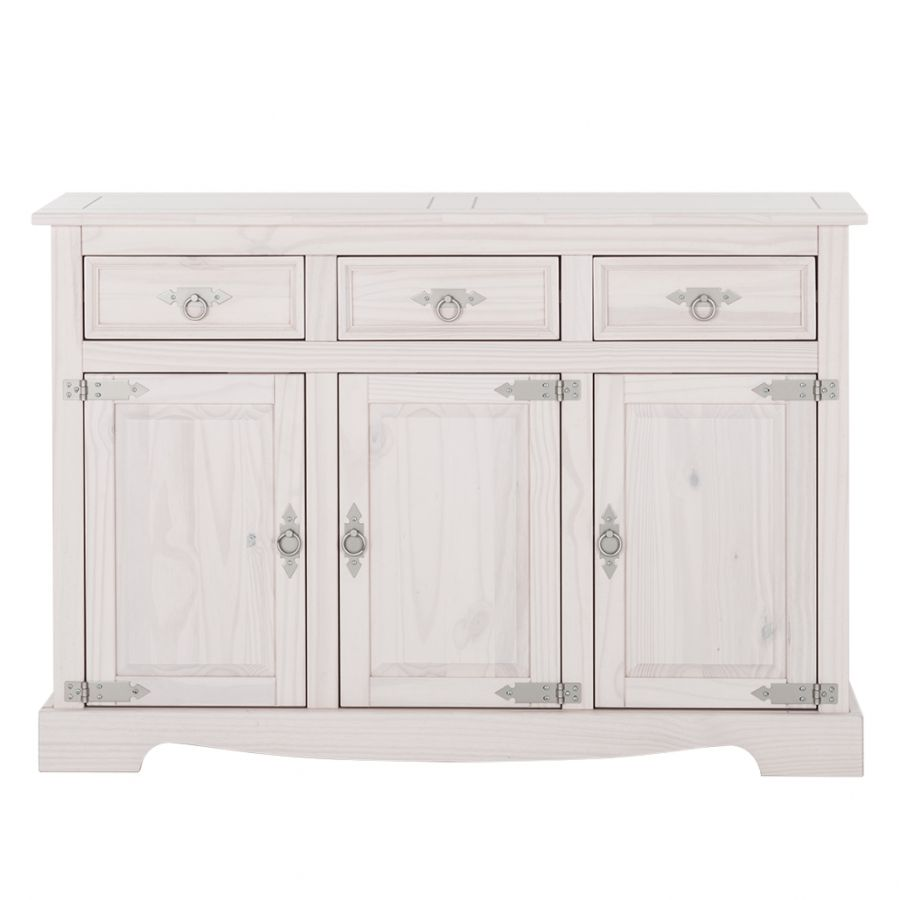 Commode Zacateca (3 portes) - Pin massif blanc, Ridgevalley
