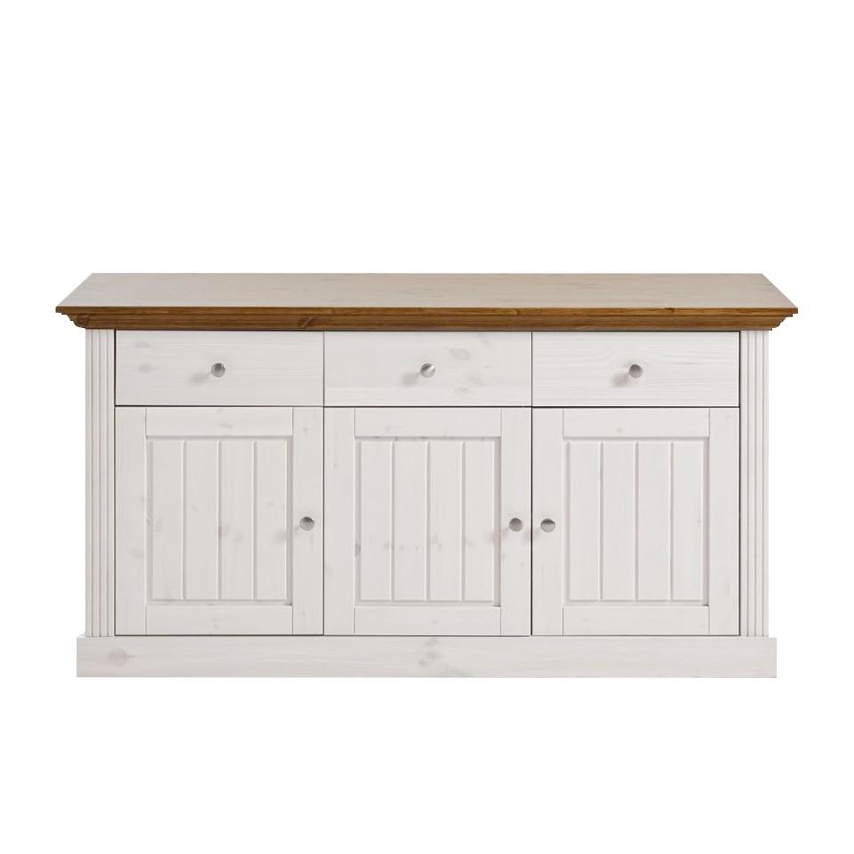 Home 24 - Buffet lyngby - pin massif - blanc / lessivé, maison belfort