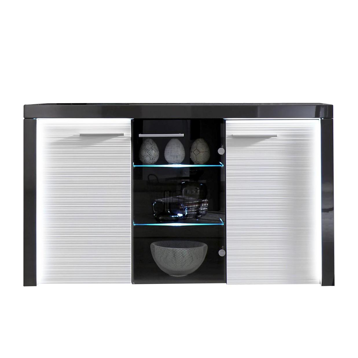 EEK A+, Sideboard Nanyo (inkl. Beleuchtung) - Weiß / Dunkelgrau, Trendteam