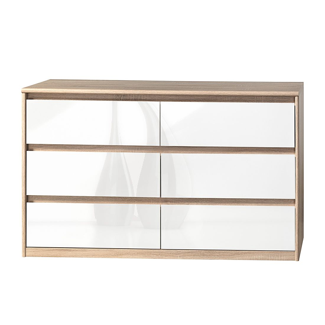 Home 24 - Buffet soft smart ii - imitation chêne / blanc brillant, cs schmal