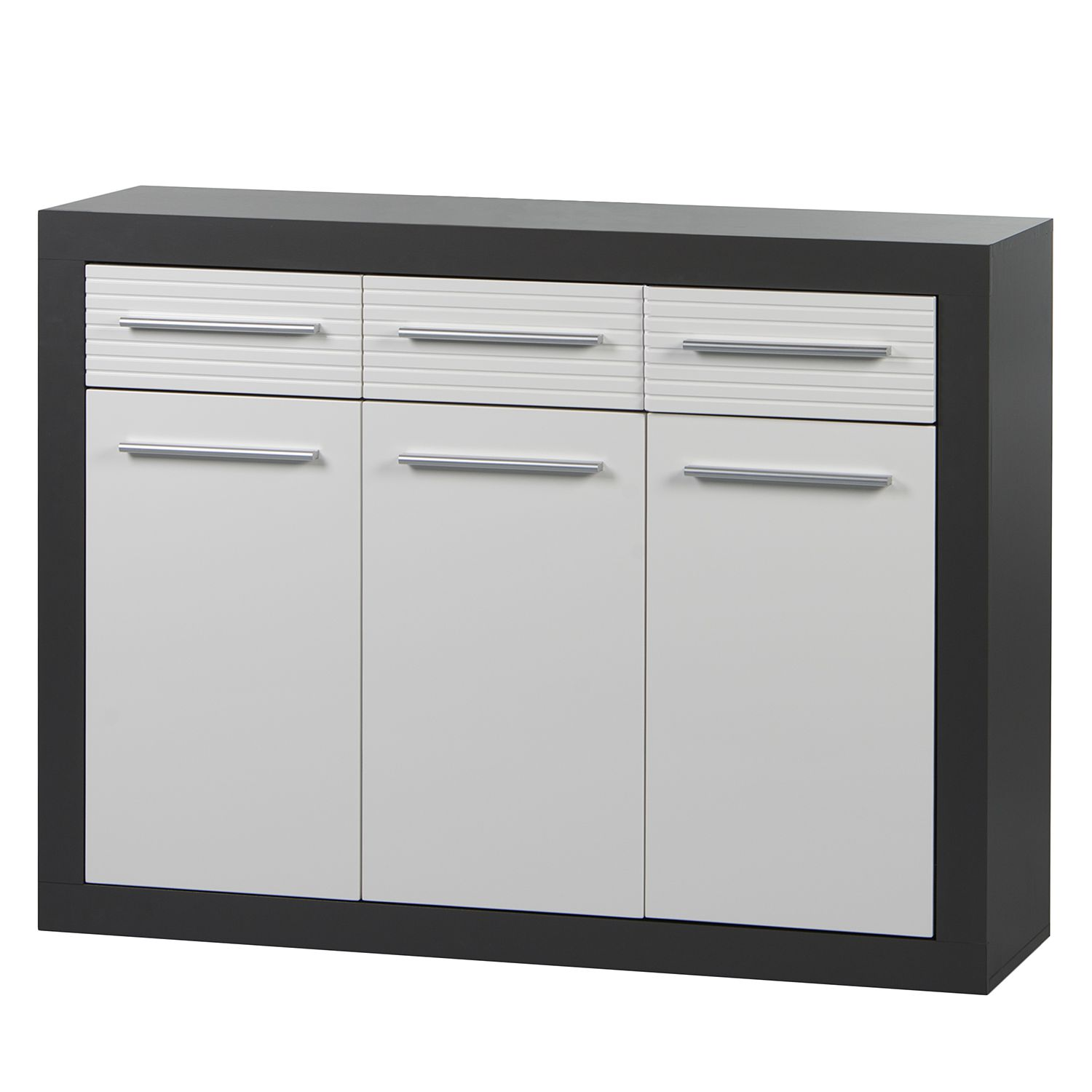 Dressoir Sonana - hoogglans wit/antracietkleurig, roomscape