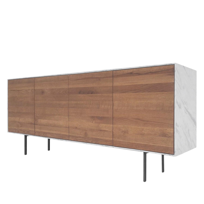 Sideboard Weta - Eiche teilmassiv - Eiche / Marmor Dekor