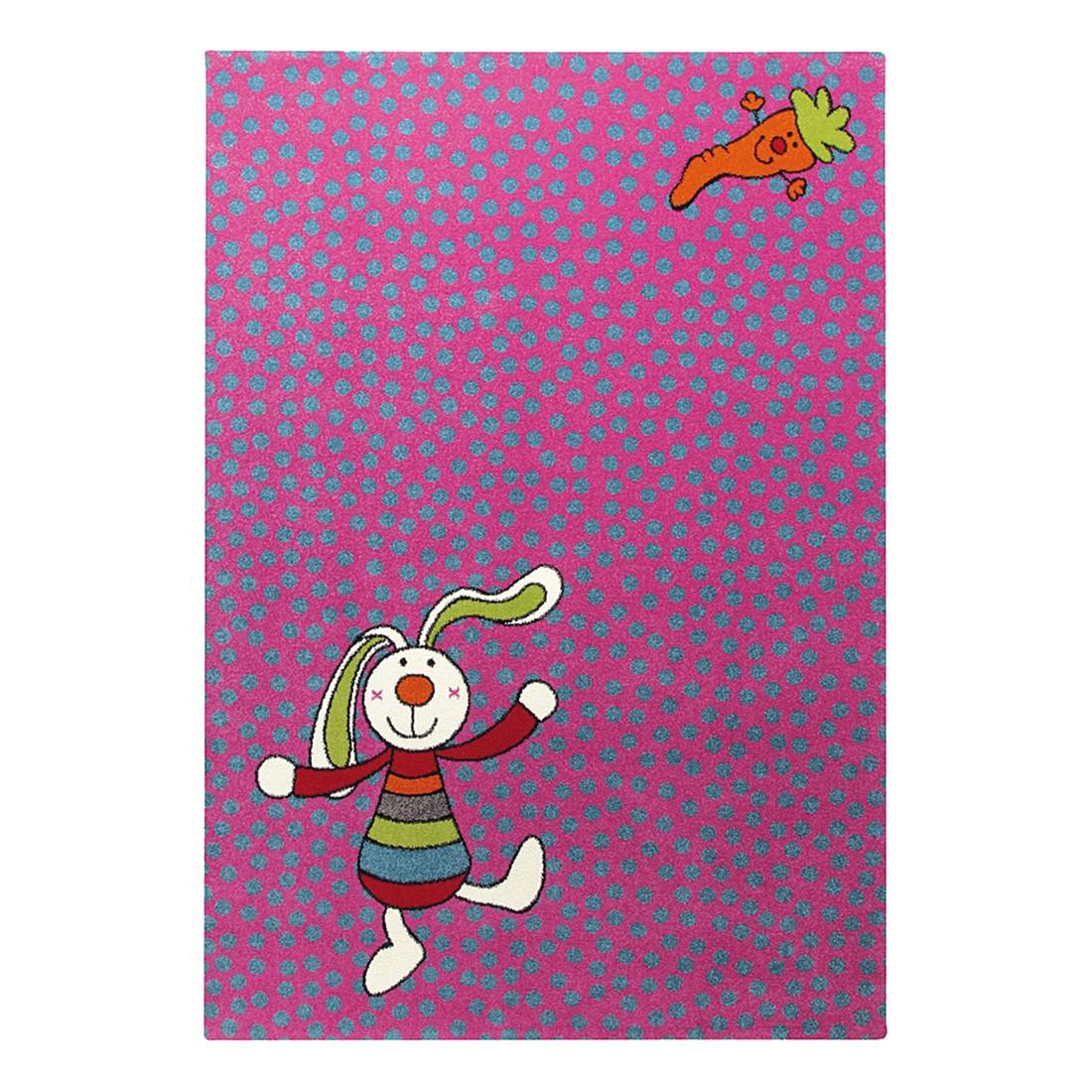 Home 24 - Tapis pour enfant rainbow rabbit - rose vif - 160 x 225 cm, sigikid