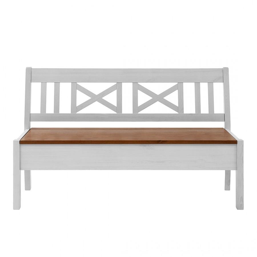 Bank Fjord zonder armleuningen - massief grenenhout wit/barnsteen - Wit grenenhout/amberkleurig grenenhout - 140cm, Maison Belfort