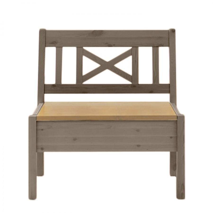Bank Fjord zonder armleuningen - massief grenenhout wit/barnsteen - Grijs/loogkleurig grenenhout - 74cm, Maison Belfort