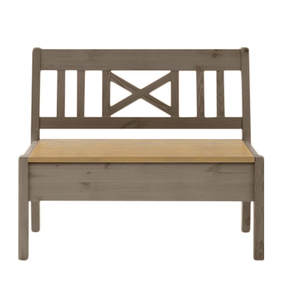 Bank Fjord zonder armleuningen - massief grenenhout wit/barnsteen - Grijs/loogkleurig grenenhout - 97cm, Maison Belfort